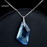 Natural stone 925 Sterling silver women jewelry girls love gift Austria blue crystal necklace originality Pendant lovers gift