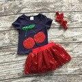 Niñas boutique de ropa de bebé de verano gils cereza top rojo con lentejuelas faldas con diadema a juego