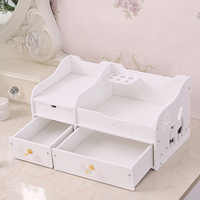 HIPSTEEN 1 Pcs Cosmetic Storage Box Dustproof Organizer With 2 Drawers For Home Office Desktop Make Up Storage Case White
