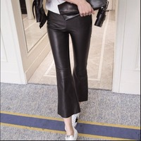 S 3XL 2019 Winter men New genuine leather sheep skin leather pants female casual ankle length trousers Was thin bell bottoms