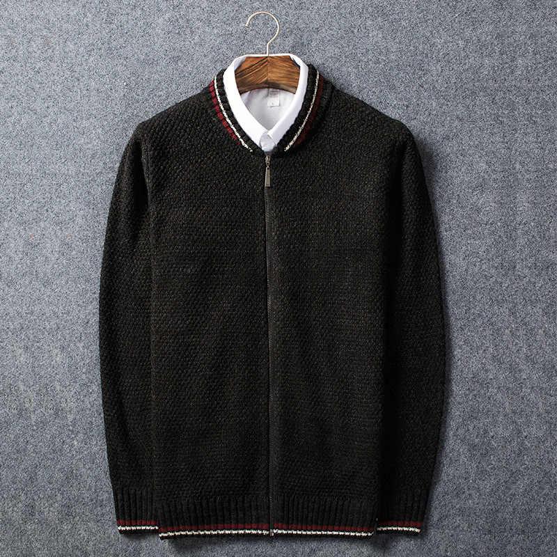 QUANBO 2019 осень зима новый Повседневный Кардиган мужской Повседневный свитер тонкий прилегающий вязаный мужской s Бейсбольный воротник свитер серый черный M261
