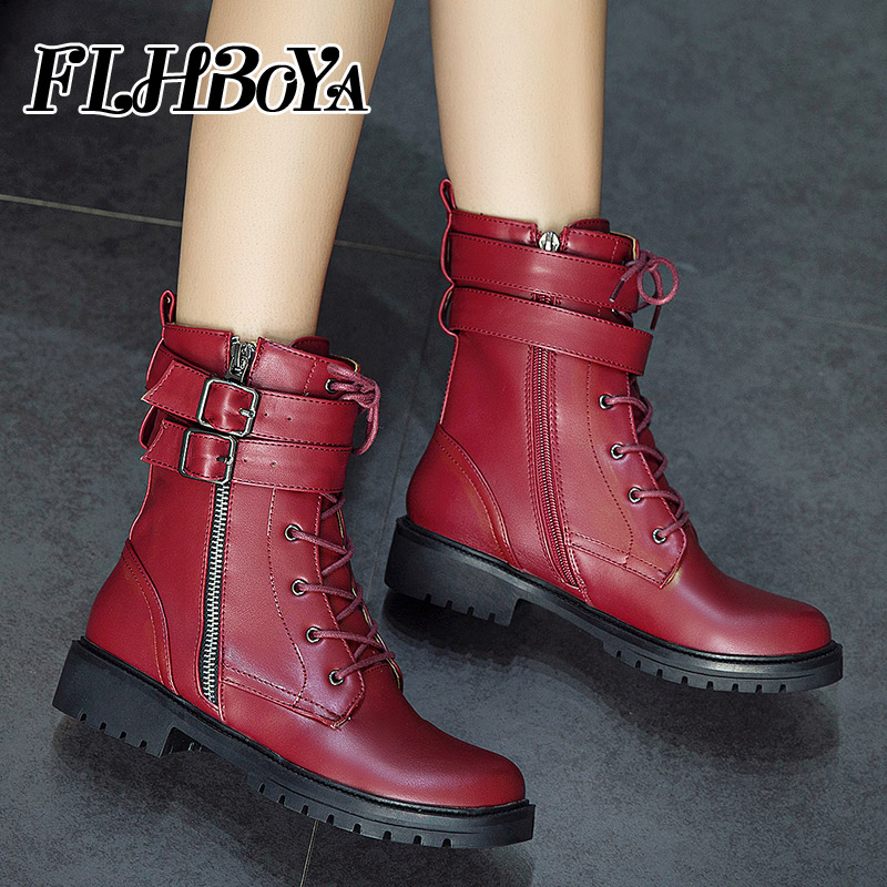 2018 New Woman Martin Boots Lace up Riding Boots Leather for Women Lady Winter Wine red Low heel Round Toe Mid calf short boots new fashion black pu leather lace up martin boot woman round toe riding boots designer chain motorcycle short booty