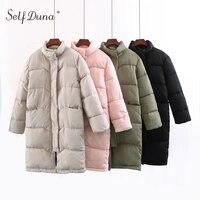 Self Duna 2017 Winter Women Long Parka Jacket Turtleneck Padded Black Green Beige Pink Warm Outerwear