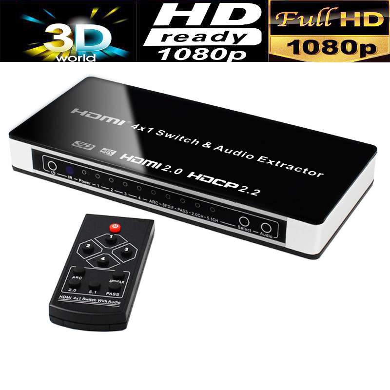 High Quality UHD HDMI Switch Switcher 4X1 4K HDMI 2.0 audio extractor with toslink+L/R stereo audio output 4Kx2K/60HZ HDCP 2.2 4k 60hz uhd hdmi 2 0 audio extractor switch hdr hdmi 3x1 converter with ir spdif l r output support ac3 3d arc for ps4 xbox dvd