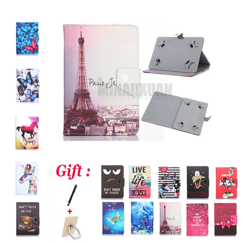 (No <font><b>camera</b></font> hole) Universal case for Prestigio MultiPad <font><b>Wize</b></font> 3408/3508/3608 4G 8 inch Tablet Printed PU Leather Stand cover +Gift image