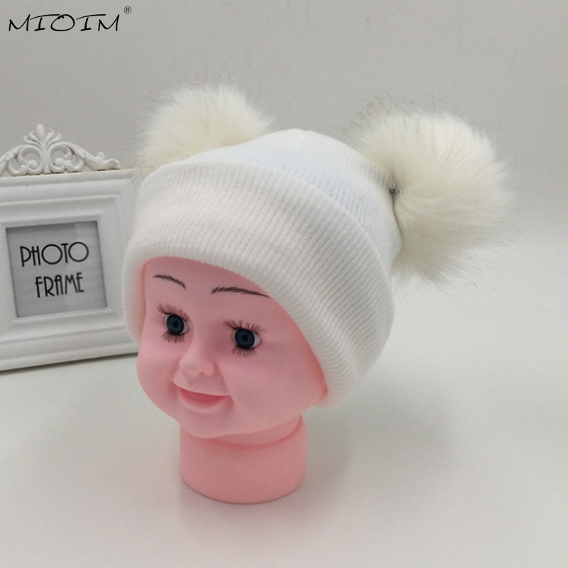 MIOIM Winter Baby Faux Raccoon Fur Pompom Hat Cute Double Fur Pom Pom Beanies Baby Boys Girls Casual Knit Skullies Unisex Caps 2 new star spring cotton baby hat for 6 months 2 years with fluffy raccoon fox fur pom poms touca kids caps for boys and girls