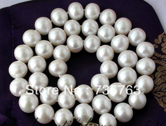 HOT AAA 12mm white round freshwater pearl necklace hot sale aaa 18 12mm nature round lapis lazuli necklace