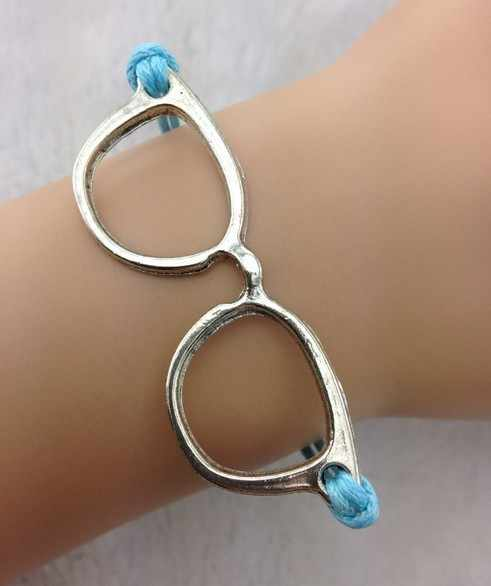 1pc חמוד משקפיים צמיד-עתיק כסף משקפיים, כחול שעוות כבלי צמיד-613