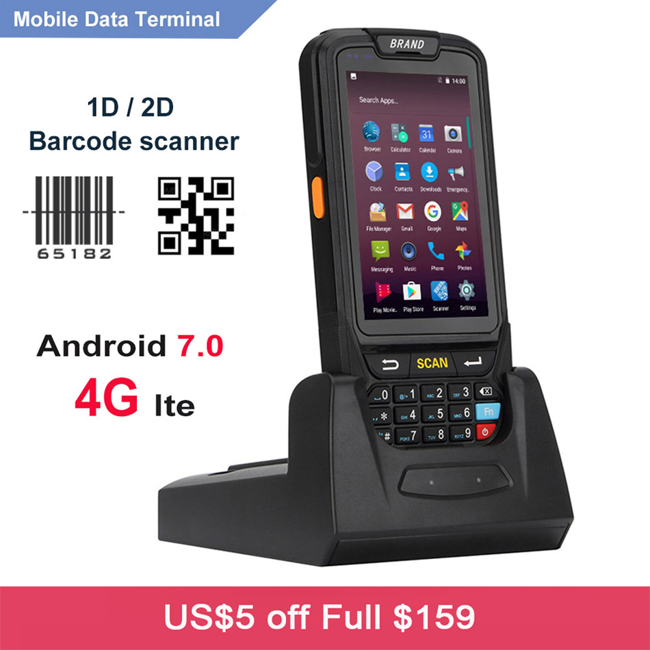 Free Shipping Handheld PDA 4G WIFI Mobile Collector Android 7 0 RFID 1D 2D Laser Barcode Scanner with Charging Cradle in Scanners from Computer Office