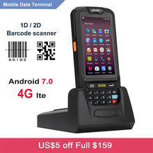 Free Shipping Handheld PDA 4G WIFI Mobile Collector Android 7.0 RFID 1D 2D Laser Barcode Scanner with Charging Cradle
