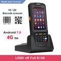 Kostenloser Versand Handheld PDA 4G WIFI Mobile Collector Android 7.0 RFID 1D 2D Laser Barcode Scanner mit Ladestation-in Scanner aus Computer und Büro bei
