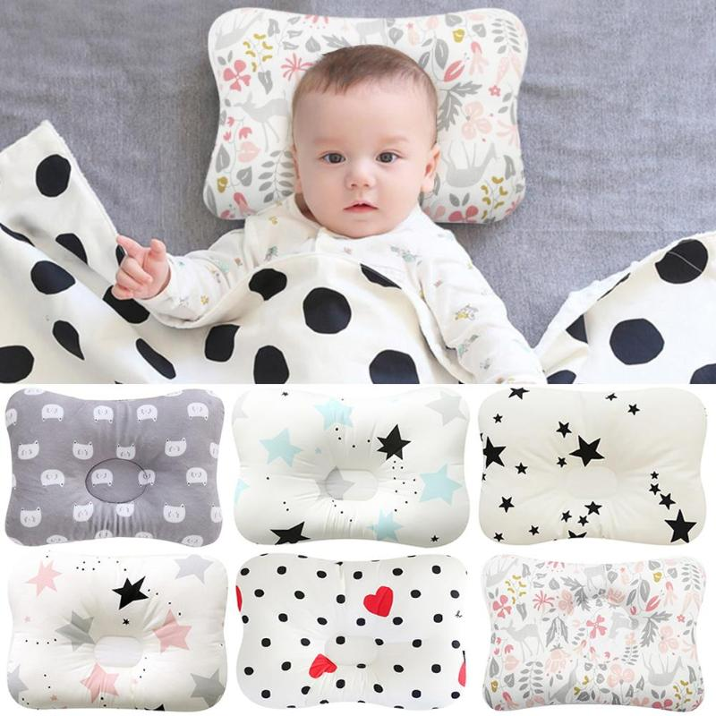 Muslin Head Protection Cushion Pillow Baby Nursing Pillow Infant Sleep Support Concave Cartoon Shaping Pillow Sleep Positioner