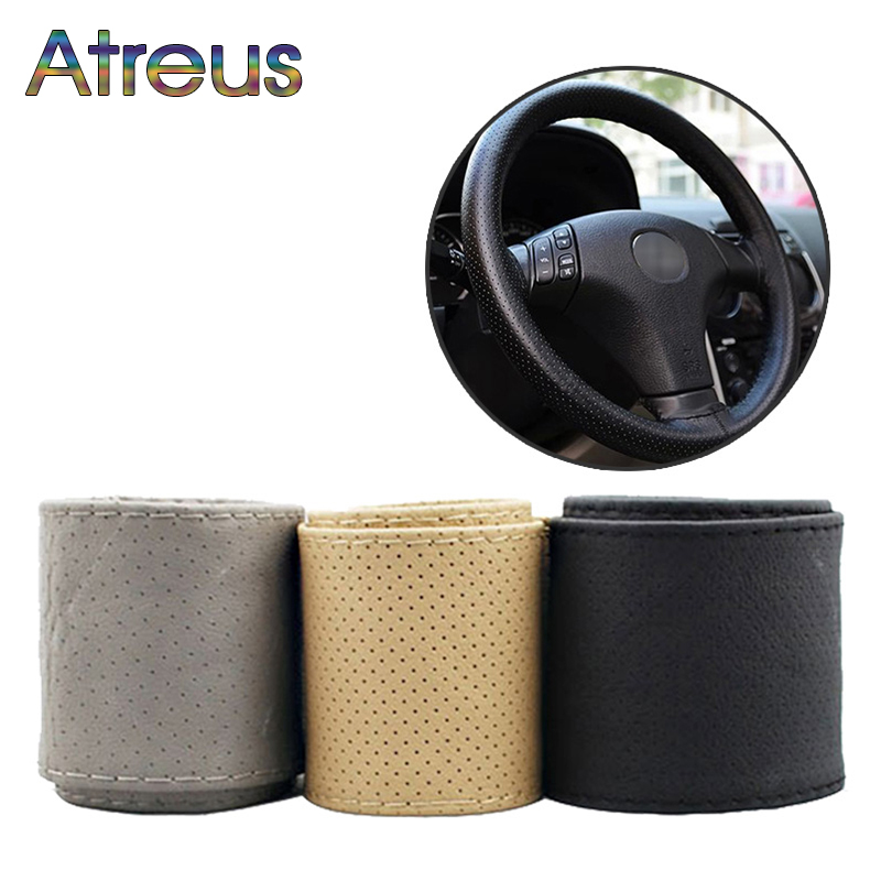 1Set Car steering wheel cover Leather Hand stitching For Toyota Corolla Avensis RAV4 C-HR Renault Dacia Duster Logan Scenic 2 zd 2x car styling for kia rio 3 ceed toyota corolla 2008 avensis c hr rav4 mazda 3 6 air red horn alarm loudspeaker blast tone