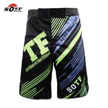 SOTF men's Green Line Combat Training Breathable Fitness Boxing sports Tiger Muay Thai boxing shorts thai boxing cheap mma boxeo