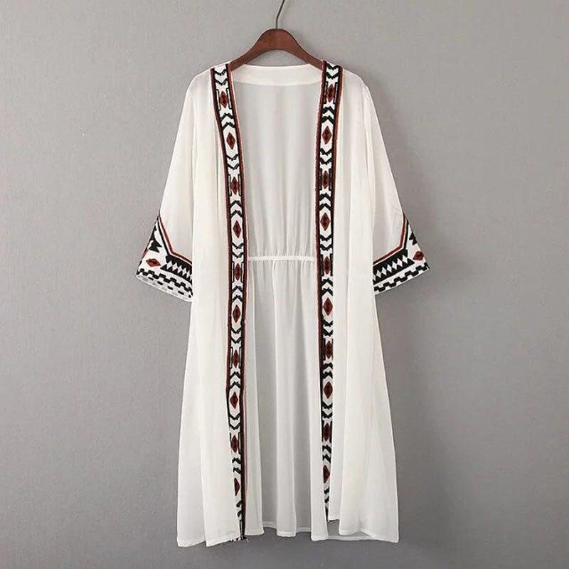 Géométrique Solaire Noir Noir Femmes D'été Broderie Couleur blanc Cardigan Blanc Ethnique Mode Kimono L231 Blouses Chemise pXx6PC