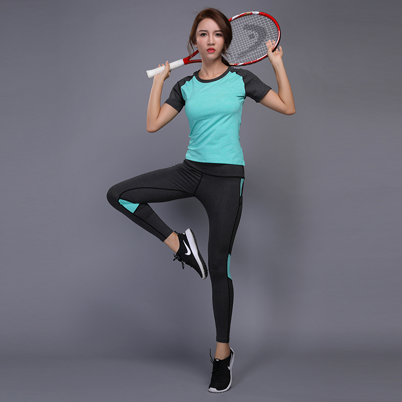Women Yoga Sets Fitness Running tight Shirt+Pants Breathable Gym Workout Clothes Compressed Yoga Leggings Sport Suit W102 new winter yoga suit five piece female ms breathable coat of cultivate one s morality pants sports suits running fitness