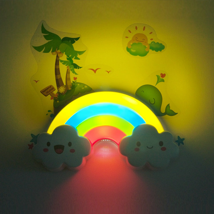 LED Rainbow Colorful Wall Sticker Night Light Baby Bedside Lamp ...