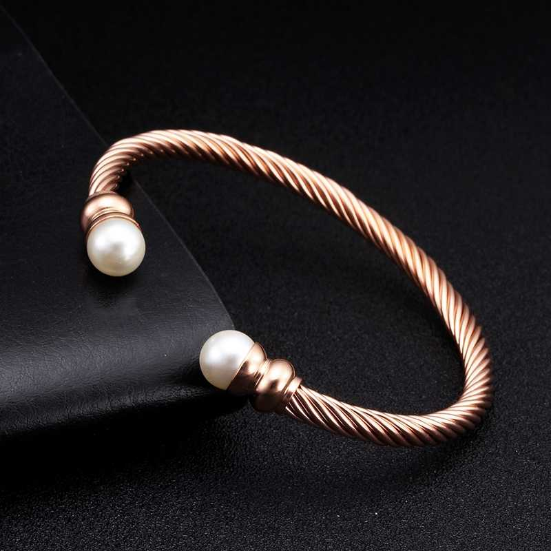 Luxury Open Women Ladies Charm Cuff Bracelets Bangles Pearl Female Fashion Jewelry Brand Braided Chain Link Sporty Bracelets