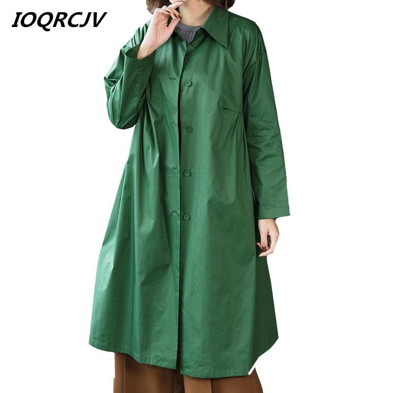 2019 Autumn Casual Single-breasted Simple Long   Trench   Coat Female Windbreaker Loose Waterproof Raincoat Business Outerwear L207