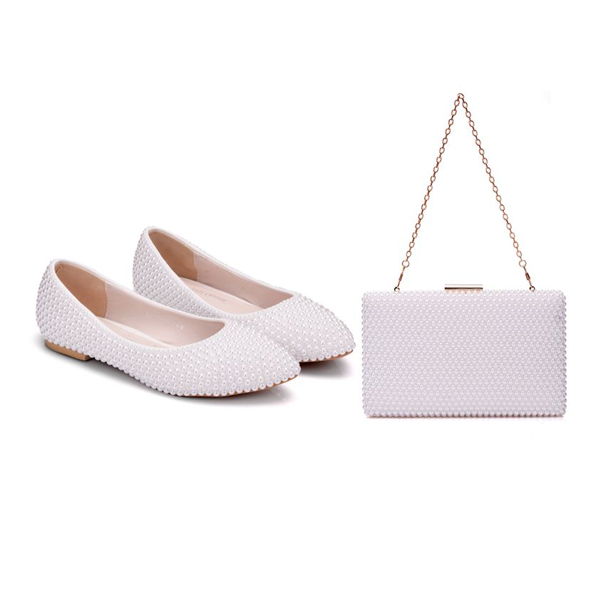 Crystal Queen Women Shoes Lady Pearl White Wedding Shoes Flat Comfortable Bridal With Matching Bags With