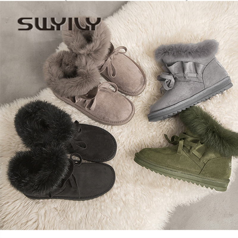 SWYIVY Woman Snow Boots Ankle Fur Warm 2018 Female Winter Shoes Short Snowboots Lady Casual Winter Velvet Flat Short Snow Boots lady short boots tassel fur warm winter wedges snow women boots shoes genuinei mitation casual knitting snow shoes z244