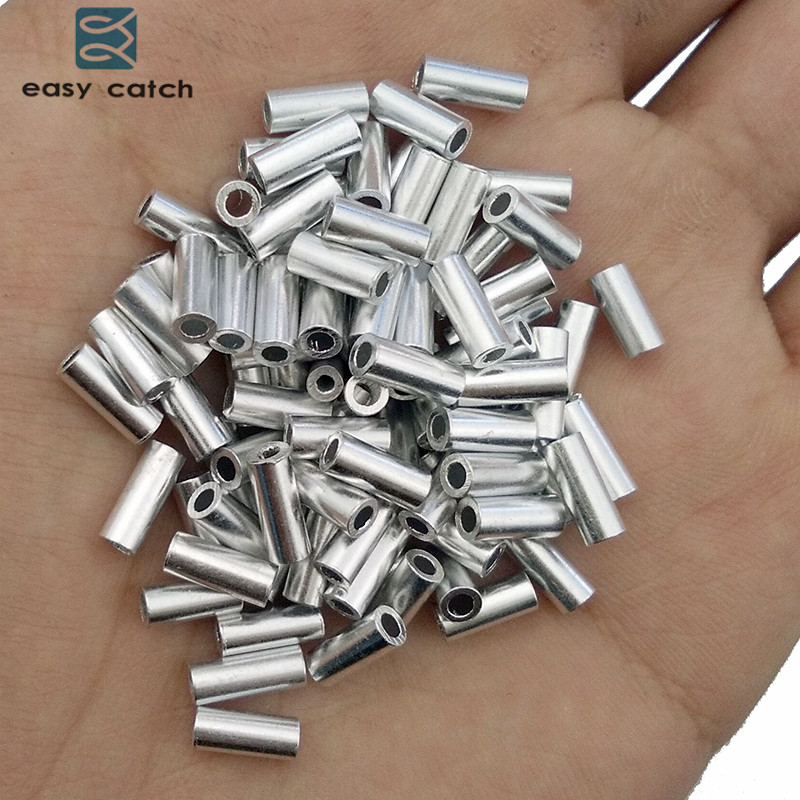 Easy Catch 100pcs White Round Aluminum Fishing Tube Fishing Wire Pipe Crimp Sleeves Connector Fishing Line Accessories ...