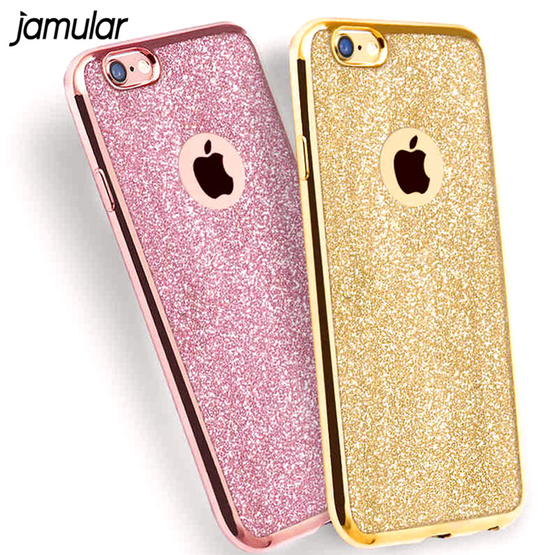 JAMULAR Bling Sparkling Glitter Phone Case For iPhone 7 6 6s Plus Cover  Clear Crystal Silicone 0e896ba4fc4e