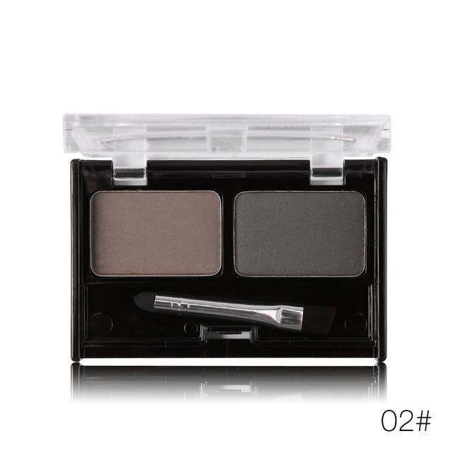 Professional Brand Eyeshadow Cake Makeup 2 Color Waterproof Eyebrow Powder Eye Shadow Eye Brow Palette + Brush Eyebrow Enhancer 4