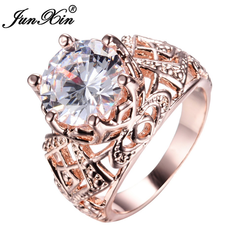 rose wedding rings junxin luxury white gold ring men women s 7132