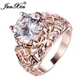 JUNXIN Luxury Crystal White Rose Gold Ring Men Women's Wedding Bands Promise Engagement Rings Top Selling Fashion Jewelry