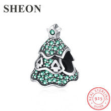 SHEON 100% 925 Sterling Silver Christmas Tree Beads With Green CZ Fit Original Pandora Bracelets Women DIY Jewelry Accessories sheon 100
