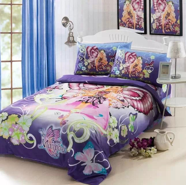 Compare Prices on Barbie Bedroom Decor  Online Shopping Buy Low   purple Barbie butterfly comforter bedding set single twin size bed duvet  cover bedclothes cotton Children s bedroom. Barbie Bedroom Decor. Home Design Ideas