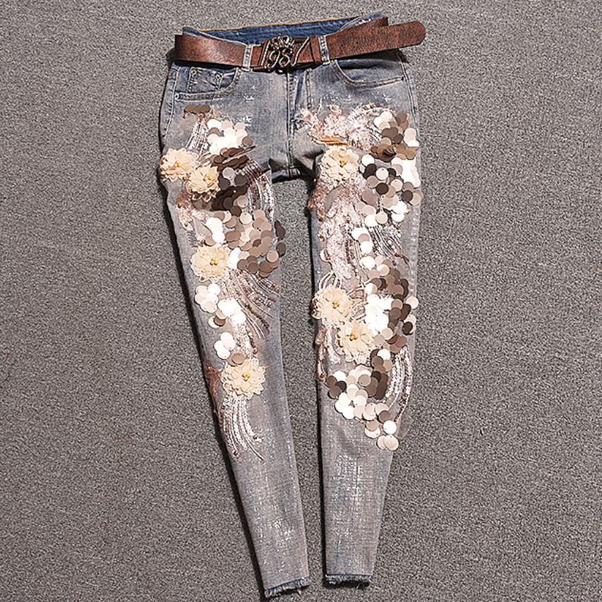 2019 Sequins Spring Summer Fashion 3D Sequins Florals Beading Jeans Women Denim Stretch Slim Skinny Ankle Length Pants