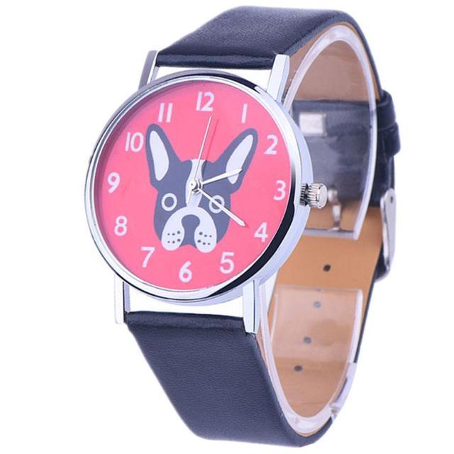Lovely Dog Parttern Dial Wristwatch Women's Clock Leather Analog Quartz Vogue Watches Reloj Relogio