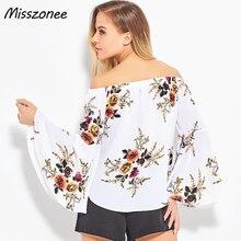Misszonee women Off shoulder chiffon blouse shirt Sexy summer white print Casual sleeve blouses
