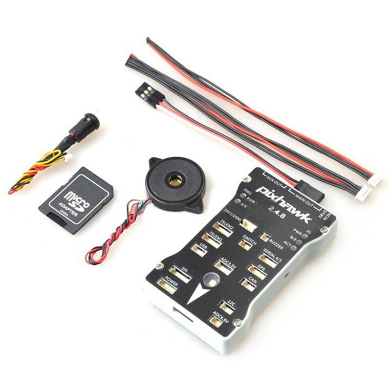 Pixhawk Flight Controller PX4 Autopilot PIX 2.4.8 32 Bit with Safety Switch and Buzzer and Free I2C Splitter Expand Module gold plated socket pixhawk 2 4 7 flight controller