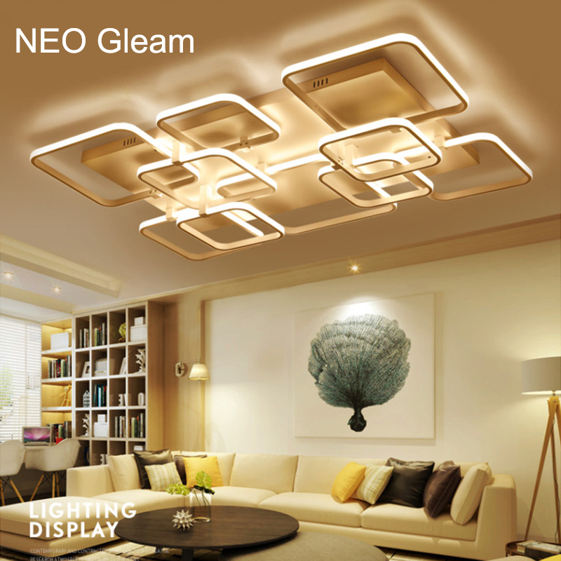 NEO Gleam Rectangle New Aluminum living room bedroom modern led ceiling lights luminarias para sala White Color led ceiling lamp neo gleam rectangle modern led ceiling lights for living room bedroom white or black aluminum 85 265v ceiling lamp free shipping