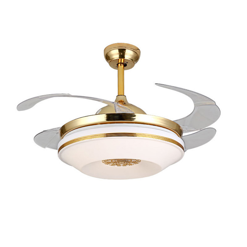 Retractable Ceiling Fan light with Remote Control Fan Ceiling Fans with Folded Blades Ceiling Fan with Lights for Indoor 42 inch free shipping ems pendant lights fashion fan lights brief household ceiling fan lights ceiling type with fan lighting