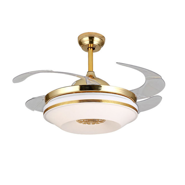 Retractable Ceiling Fan Light With Remote Control Fans Folded Blades