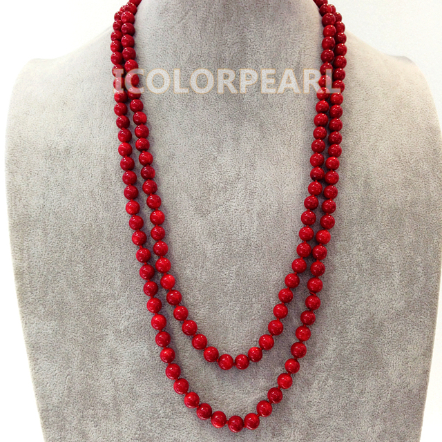 Beautiful 130cm Long 8mm Round Red Coral Sweater Necklace. Best Jewelry Gift For Girls!