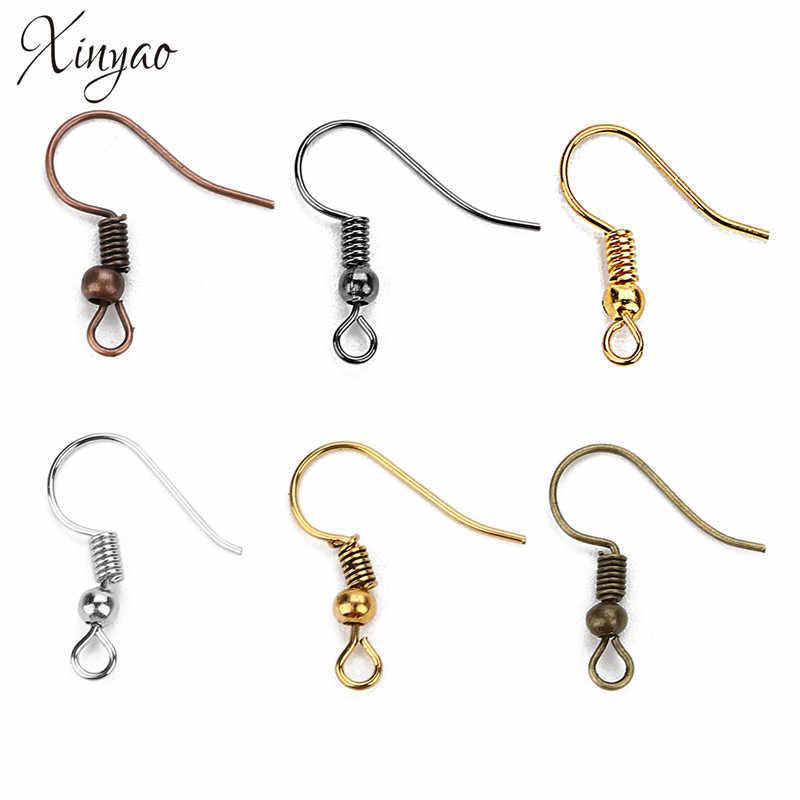 Wholesale 200pcs Earring Findings Coil Ear Wire Hook stopper for Jewelry Making