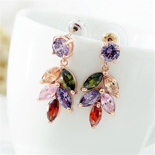 цена на 1 Pair Colorful Zircon Rhinestone long Korean style colorful leaf shape Inlaid AAA Stud Earrings For Women Jewelry Dropshipping
