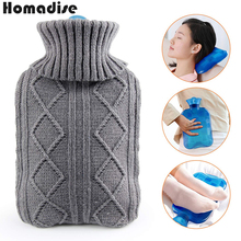 2000ml Hot Water Bottle Knit Set Large Cloth Cover Water Hot Water Bottle Velvet Bag Super Soft Knitting Feet Hand Warming