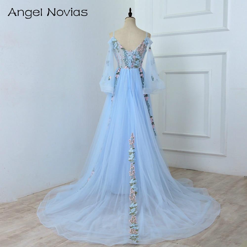 Lång Elegant Blå Aftonklänning 2018 Kaftan Dubai Korsett Tillbaka - Särskilda tillfällen klänningar - Foto 2
