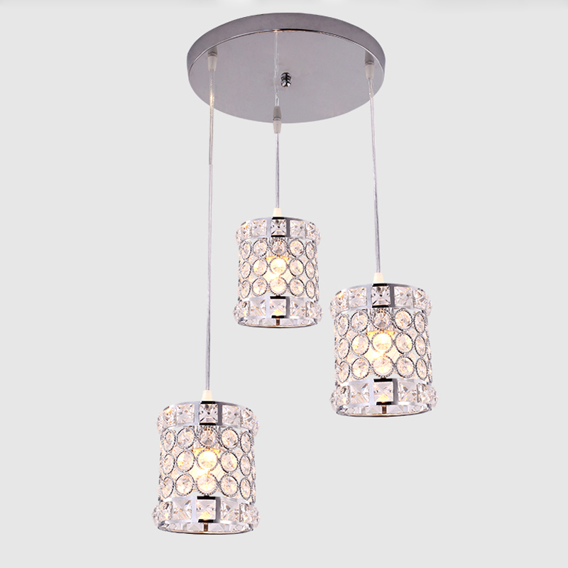Modern Crystal Pendant Lamp Nordic Luxury Villa Staircase Dining Room Lamps European Simple Retro Iron Hanging Light Fixture 655 chinese style simple led long block crystal villa staircase pendant lamp revolving double staircase living room lighting pendant