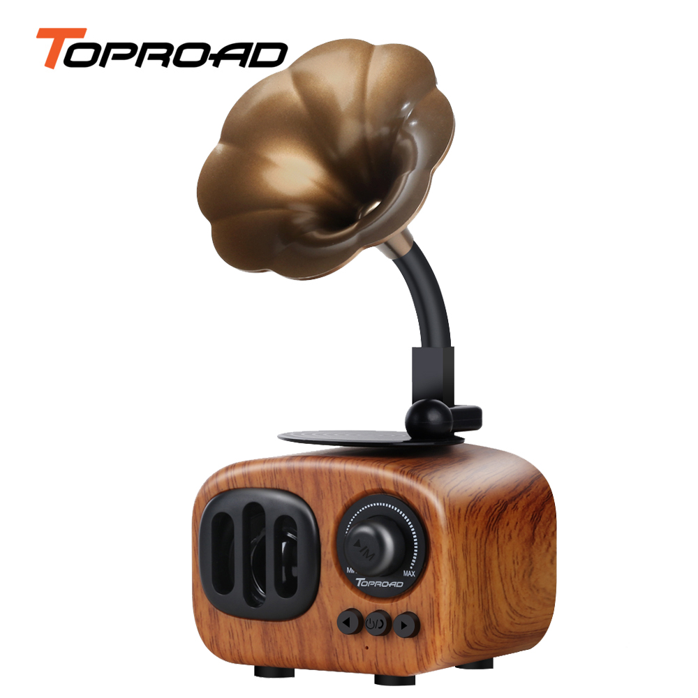 US $17 53 62% OFF|TOPROAD Retro Trumpet Style Bluetooth Speaker Wireless  Stereo Subwoofer Music Box Wooden Speakers with Mic FM radio TF for  Phone-in