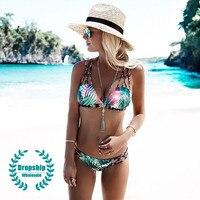 Beach Tropical Bikini Set Women Lace Up Top Low Waist Bottom California Padded Swimsuit Swimming Beach