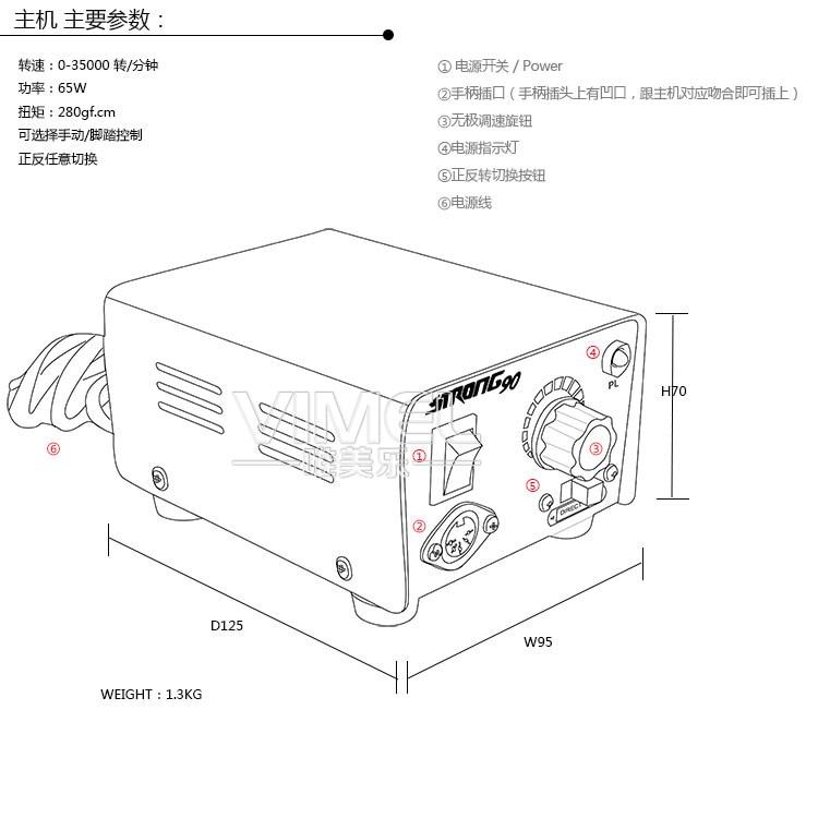 Saeshin Dental Micro Motor E Type Carbon Brush Handpiece 90108e