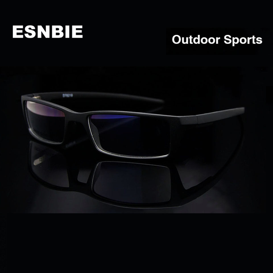 ESNBIE New Eye Glasses Frames para Hombres Gafas Frame Black TR90 Optical Glass Gafas graduadas Rx