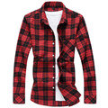 Men Shirt 2016 New Fashion Casual Plaid Men's Shirt Slim fit Male Shirts Cotton Comfortable Men Clothes,Plus size 6XL